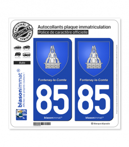 85 Fontenay-le-Comte - Armoiries | Autocollant plaque immatriculation