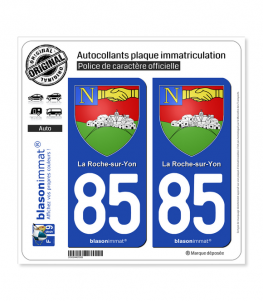 85 La Roche-sur-Yon - Armoiries | Autocollant plaque immatriculation