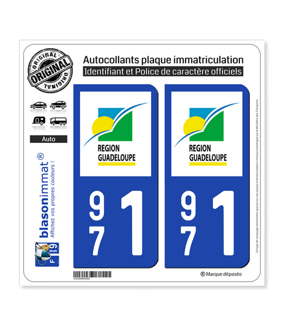 971 Guadeloupe - LogoType | Autocollant plaque immatriculation