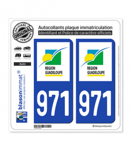 971-H Guadeloupe - LogoType | Autocollant plaque immatriculation