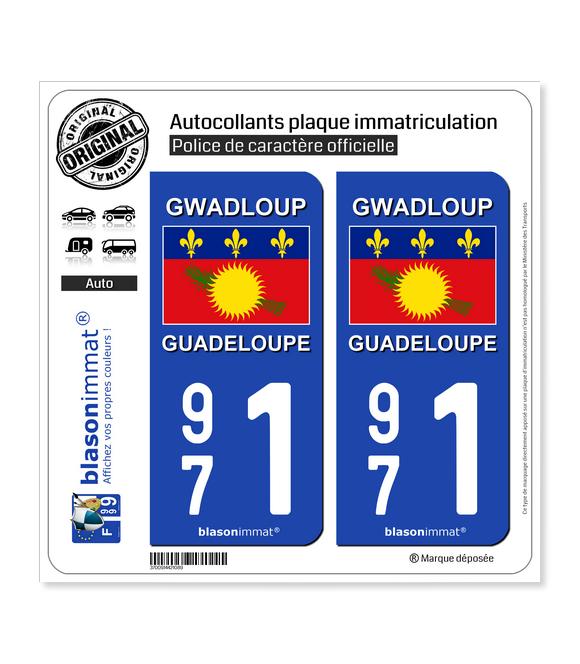 971 Guadeloupe - Drapeau | Autocollant plaque immatriculation
