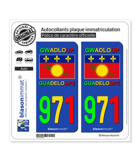 971 Guadeloupe - VJR Drapeau | Autocollant plaque immatriculation