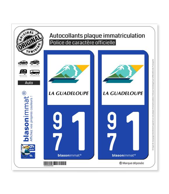 971 Guadeloupe - Département | Autocollant plaque immatriculation