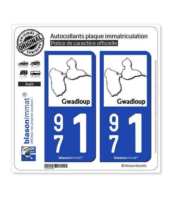 971 Gwadloup - Carte | Autocollant plaque immatriculation