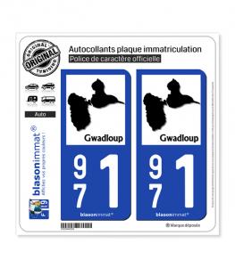 971 Gwadloup - Carte II | Autocollant plaque immatriculation