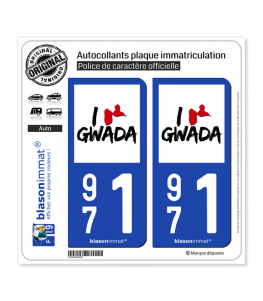 971 Guadeloupe - I'm Gwada | Autocollant plaque immatriculation