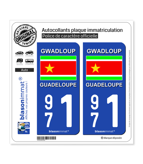 971  Guadeloupe - Drapeau Indépendantiste | Autocollant plaque immatriculation