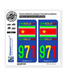 971  Guadeloupe - VJR Drapeau Indépendantiste | Autocollant plaque immatriculation