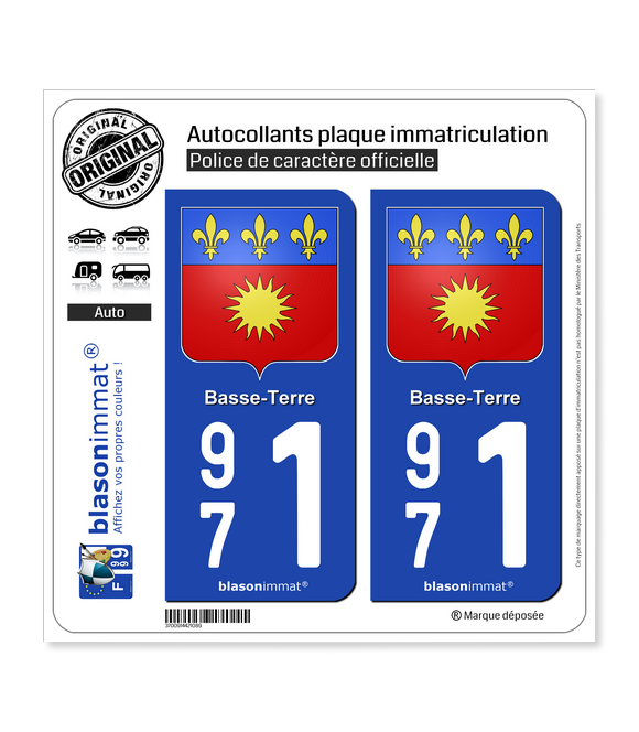 971 Basse-Terre - Armoiries | Autocollant plaque immatriculation