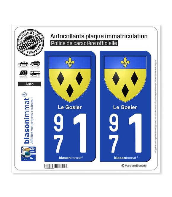 971 Le Gosier - Armoiries | Autocollant plaque immatriculation