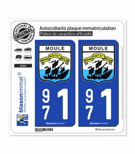 971 Le Moule - Armoiries | Autocollant plaque immatriculation