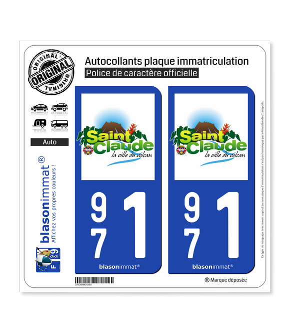 971 Saint-Claude - Ville | Autocollant plaque immatriculation