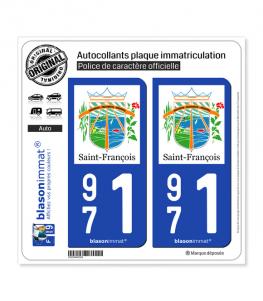 971 Saint-François - Ville | Autocollant plaque immatriculation