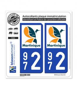 972 Martinique - LogoType II | Autocollant plaque immatriculation