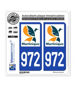 972-H Martinique - LogoType II | Autocollant plaque immatriculation
