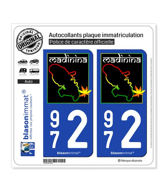 972 Martinique - Madinina | Autocollant plaque immatriculation