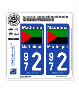 972 Martinique - Drapeau Nationaliste | Autocollant plaque immatriculation