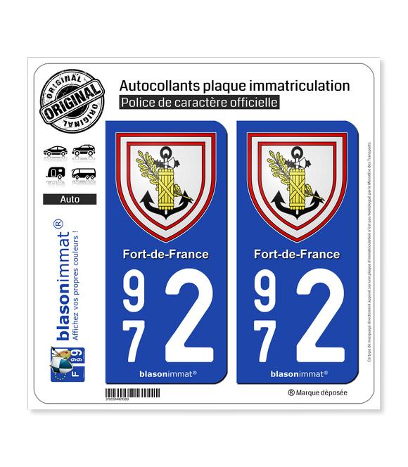 972 Fort-de-France - Armoiries | Autocollant plaque immatriculation