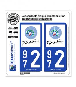972 Fort-de-France - Ville | Autocollant plaque immatriculation