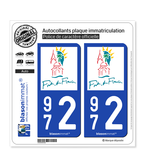 972 Fort-de-France - Tourisme | Autocollant plaque immatriculation