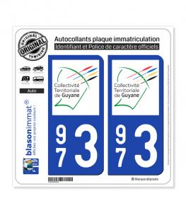 973 Guyane - LogoType II | Autocollant plaque immatriculation