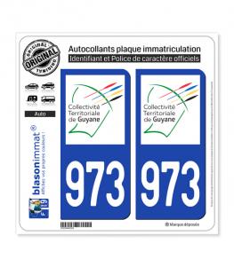 973-H Guyane - LogoType II | Autocollant plaque immatriculation