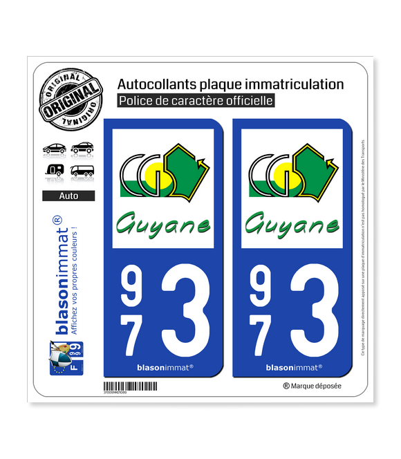 973 Guyane - Département | Autocollant plaque immatriculation