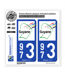 973 Guyane - Collectivité | Autocollant plaque immatriculation