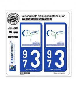 973 Cayenne - Ville | Autocollant plaque immatriculation