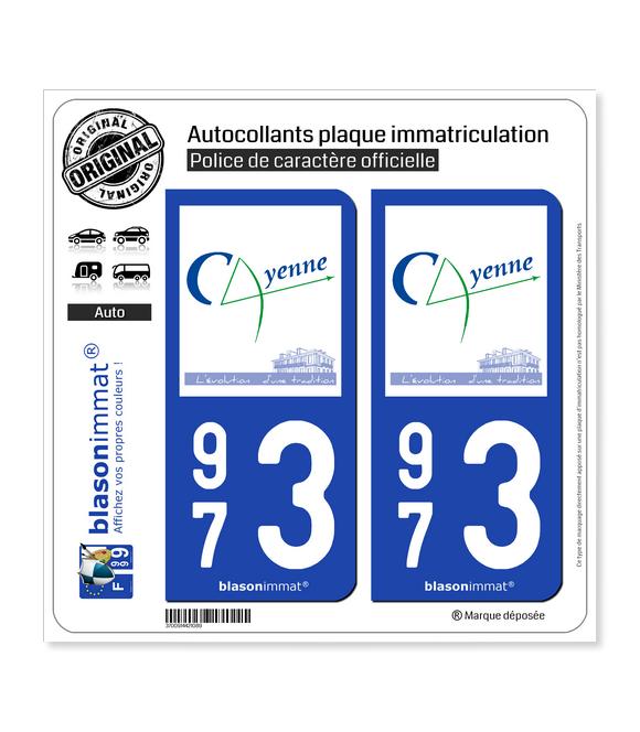 973 Cayenne - Ville   Autocollant plaque immatriculation