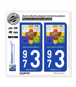 973 Saint-Laurent-du-Maroni - Armoiries | Autocollant plaque immatriculation