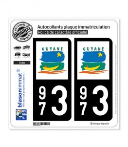 973 Guyane - LogoType | Autocollant plaque immatriculation