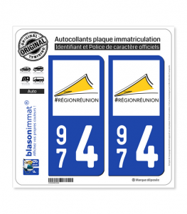 974 Réunion - LogoType II | Autocollant plaque immatriculation