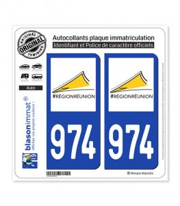 974-H Réunion - LogoType II | Autocollant plaque immatriculation