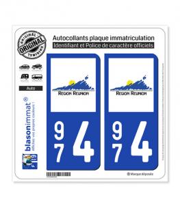 974 Réunion - LogoType | Autocollant plaque immatriculation