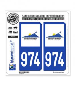 974-H Réunion - LogoType | Autocollant plaque immatriculation