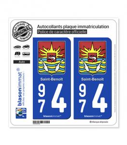 974 Saint-Benoît - Armoiries | Autocollant plaque immatriculation