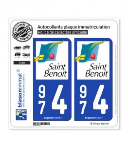 974 Saint-Benoît - Ville | Autocollant plaque immatriculation