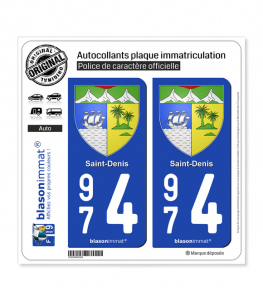 974 Saint-Denis - Armoiries | Autocollant plaque immatriculation
