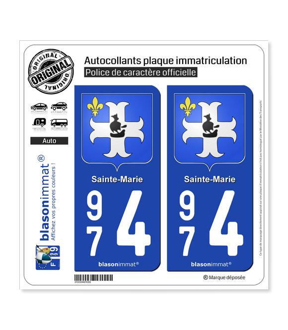974 Sainte-Marie - Armoiries | Autocollant plaque immatriculation
