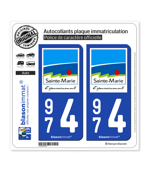 974 Sainte-Marie - Ville | Autocollant plaque immatriculation