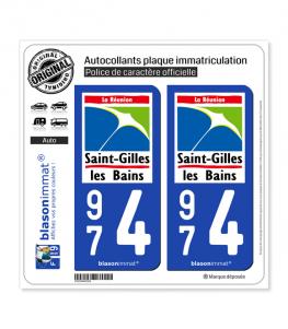 974 Saint-Gilles les Bains - Lieu-Dit | Autocollant plaque immatriculation