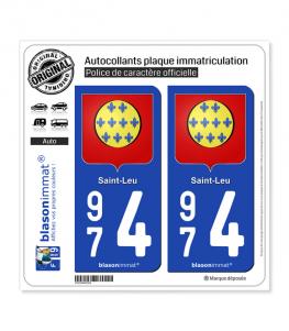 974 Saint-Leu - Armoiries | Autocollant plaque immatriculation