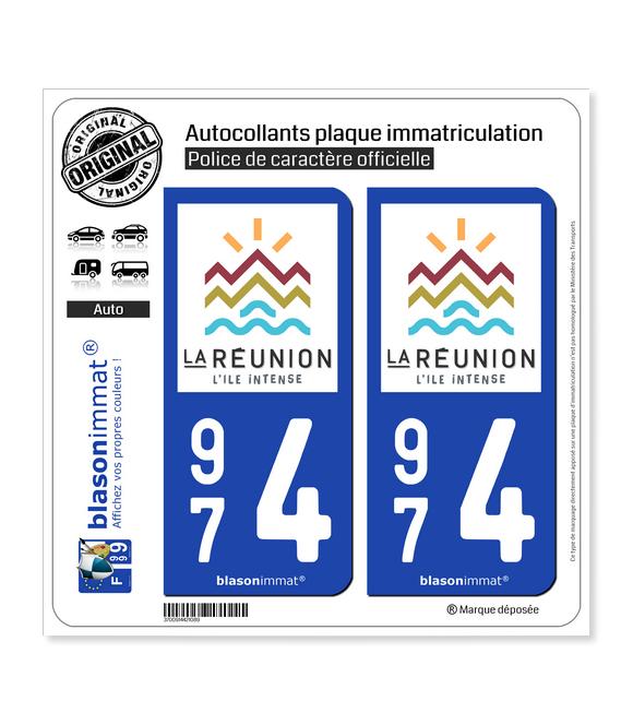 974 Réunion - Tourisme | Autocollant plaque immatriculation