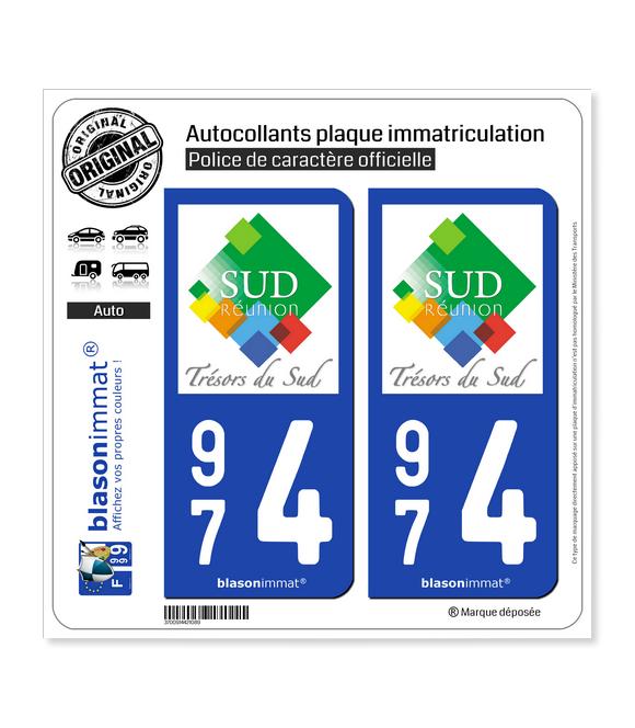 974 Réunion du Sud - Tourisme | Autocollant plaque immatriculation