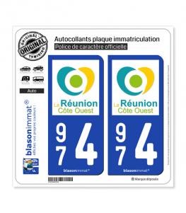 974 Réunion - Côte Ouest | Autocollant plaque immatriculation