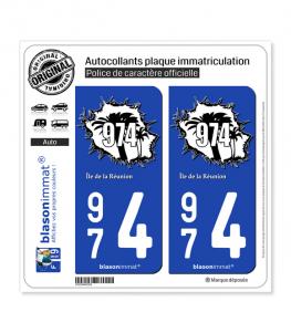 974 Réunion - en Force | Autocollant plaque immatriculation