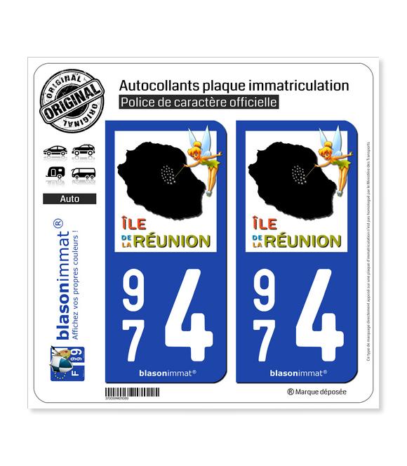 974 Réunion - Fée Clochette | Autocollant plaque immatriculation
