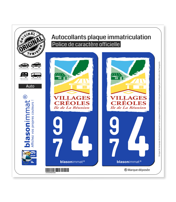 974 Réunion - Villages Créoles | Autocollant plaque immatriculation