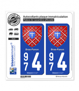 974 Bras-Panon - Armoiries | Autocollant plaque immatriculation